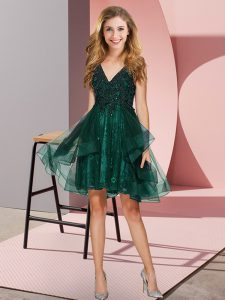 Dark Green A-line V-neck Sleeveless Tulle Mini Length Backless Appliques and Ruffles Bridesmaids Dress