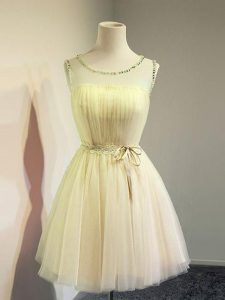 Dramatic Gold Bridesmaid Dress Prom and Party and Wedding Party with Belt Scoop Sleeveless Lace Up