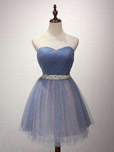 High End Mini Length Blue Bridesmaid Dress Sweetheart Sleeveless Lace Up