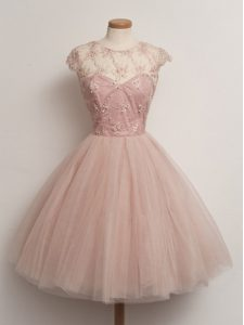 Beauteous Peach Tulle Lace Up Scoop Cap Sleeves Knee Length Wedding Party Dress Lace