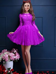 3 4 Length Sleeve Lace Up Mini Length Beading and Lace and Appliques Bridesmaids Dress