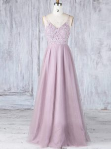 Elegant Sleeveless Floor Length Lace Clasp Handle Wedding Guest Dresses with Pink