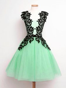 Comfortable Sleeveless Tulle Knee Length Lace Up Bridesmaid Gown in Apple Green with Lace
