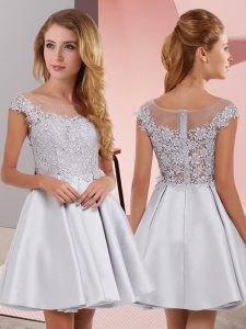 New Arrival Silver Zipper Wedding Guest Dresses Lace Sleeveless Mini Length