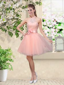 Peach A-line Halter Top Sleeveless Tulle Knee Length Lace Up Lace and Belt Bridesmaid Gown