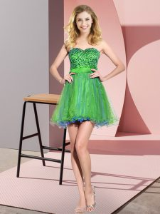 Trendy Multi-color Sleeveless Mini Length Beading and Sequins Lace Up Bridesmaid Dress