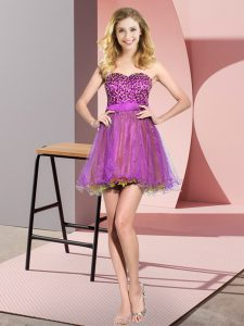 Sumptuous Multi-color Lace Up Sweetheart Beading and Sequins Bridesmaid Gown Tulle Sleeveless