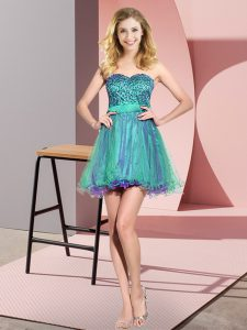 Multi-color Sweetheart Lace Up Beading and Sequins Bridesmaid Dresses Sleeveless
