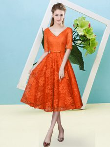 Glorious Half Sleeves Lace Tea Length Lace Up Bridesmaids Dress in Orange Red with Bowknot