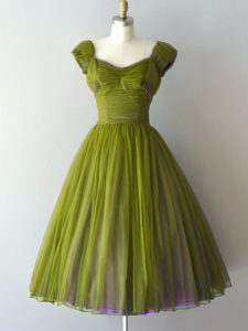 Knee Length Lace Up Bridesmaid Dress Olive Green for Prom and Party and Military Ball and Sweet 16 with Ruching