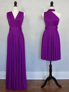 Best Purple Sleeveless Beading and Ruching Floor Length Bridesmaid Dresses