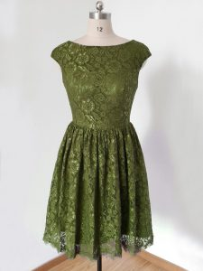 Dynamic Olive Green Empire Lace Scoop 3 4 Length Sleeve Lace Knee Length Lace Up Bridesmaid Gown