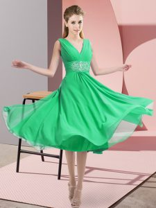 Excellent Turquoise Chiffon Side Zipper Wedding Party Dress Sleeveless Knee Length Beading