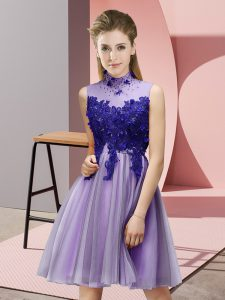 Lavender Empire High-neck Sleeveless Tulle Knee Length Lace Up Appliques Bridesmaid Dresses