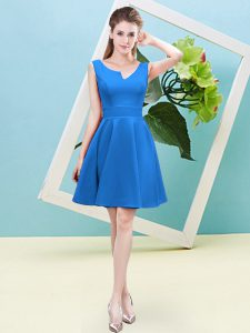 Wonderful Baby Blue Asymmetric Neckline Ruching Bridesmaid Gown Sleeveless Zipper