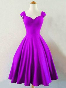 Eggplant Purple Sleeveless Knee Length Ruching Lace Up Bridesmaid Gown