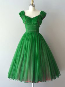 Traditional Short Sleeves Knee Length Ruching Lace Up Bridesmaid Gown