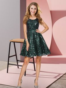 Fashion Dark Green Zipper Bridesmaid Dresses Sequins Sleeveless Mini Length