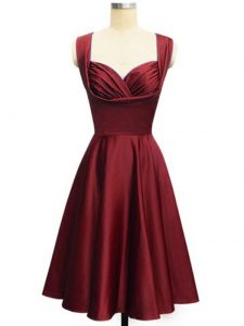 Sleeveless Taffeta Knee Length Lace Up Wedding Party Dress in Wine Red with Ruching