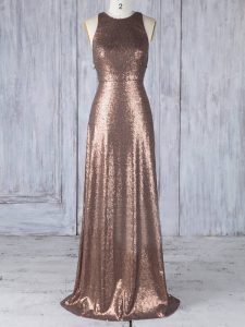 Brown Criss Cross Scoop Appliques Wedding Party Dress Sequined Sleeveless