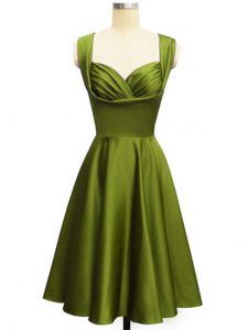 Gorgeous Olive Green Lace Up Straps Ruching Bridesmaid Dresses Taffeta Sleeveless