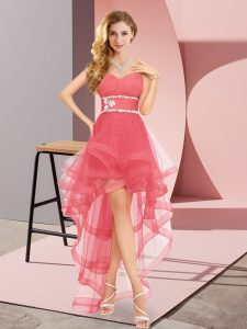 Coral Red Lace Up Wedding Guest Dresses Beading Sleeveless High Low