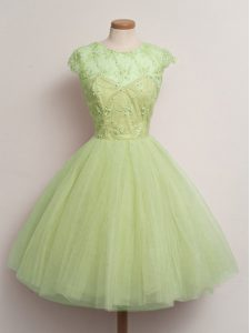 Noble Ball Gowns Bridesmaid Dresses Yellow Green Scoop Tulle Cap Sleeves Knee Length Lace Up