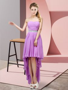 Stunning Lavender Wedding Party Dress Prom and Party and Wedding Party with Beading Sweetheart Sleeveless Lace Up