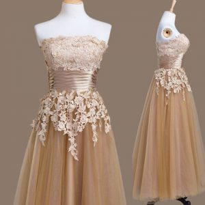 Attractive Brown Tulle Lace Up Bridesmaids Dress Sleeveless Tea Length Appliques