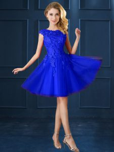 Knee Length Lace Up Bridesmaid Dress Blue for Prom and Party with Lace and Belt