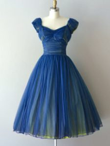 New Style V-neck Cap Sleeves Chiffon and Tulle Bridesmaid Dress Ruching Lace Up