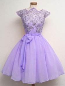Most Popular Lavender Chiffon Lace Up Scalloped Cap Sleeves Knee Length Wedding Guest Dresses Lace and Belt