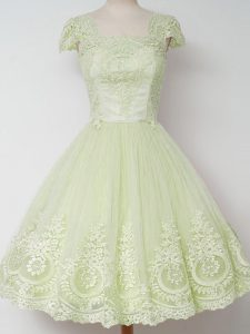 Yellow Green Zipper Square Lace Bridesmaid Dress Tulle Cap Sleeves