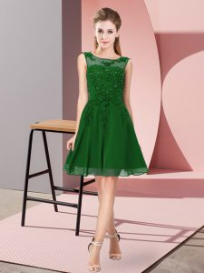 Spectacular Knee Length Zipper Wedding Guest Dresses Dark Green for Prom and Party and Wedding Party with Appliques