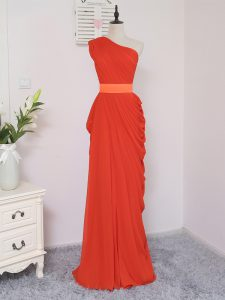 Coral Red Chiffon Zipper Bridesmaids Dress Sleeveless Floor Length Pick Ups