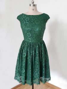 Artistic Cap Sleeves Knee Length Lace Lace Up Bridesmaids Dress with Dark Green