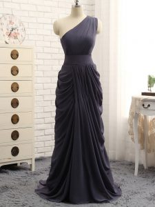 Sleeveless Zipper Floor Length Pick Ups Bridesmaids Dress