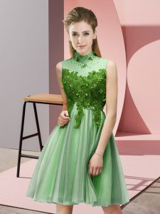 Flirting Knee Length Lace Up Bridesmaid Gown Apple Green for Prom and Party and Wedding Party with Appliques