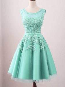 A-line Wedding Party Dress Turquoise Scoop Tulle Sleeveless Knee Length Lace Up