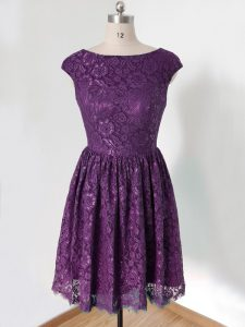 Knee Length Lace Up Bridesmaid Gown Dark Purple for Prom and Party and Wedding Party with Lace