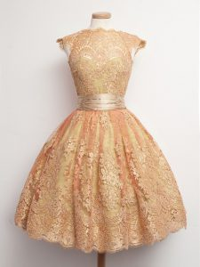 Gold Lace Lace Up High-neck Cap Sleeves Knee Length Wedding Party Dress Belt