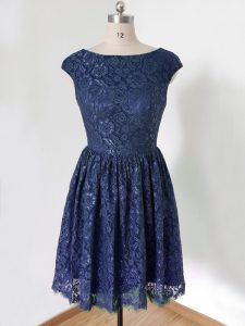 Pretty Scoop Cap Sleeves Lace Up Wedding Party Dress Royal Blue Lace