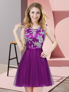 Best Eggplant Purple Scoop Neckline Lace Bridesmaid Dresses Sleeveless Side Zipper