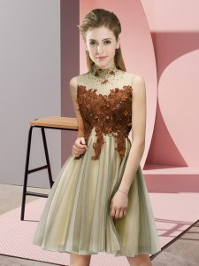 Free and Easy Gold Tulle Lace Up Wedding Party Dress Sleeveless Knee Length Appliques