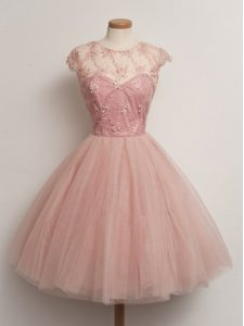 Peach Lace Up Bridesmaid Dresses Lace Cap Sleeves Knee Length