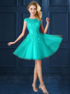 Pretty Bateau Cap Sleeves Lace Up Wedding Party Dress Turquoise Tulle