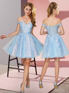 Mini Length Zipper Bridesmaid Dress Light Blue for Prom and Party and Wedding Party with Appliques