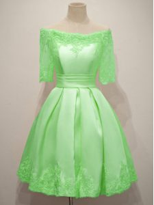 Dynamic A-line Bridesmaid Dresses Off The Shoulder Taffeta Half Sleeves Knee Length Lace Up