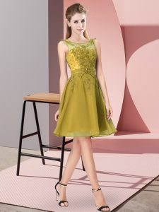 Sleeveless Chiffon Knee Length Zipper Bridesmaid Gown in Olive Green with Appliques
