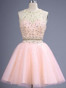 Knee Length Peach Bridesmaids Dress Tulle Sleeveless Beading